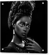 Woman With Beehive Hairstyle And Jewelry Headdress Owner Acrylic Print