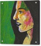 Woman With Black Lipstick Acrylic Print