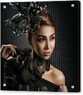 Woman With Black Metallic Headdress Acrylic Print