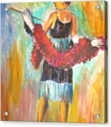 Woman With Boa Acrylic Print