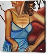 Woman With Curly Hair Acrylic Print