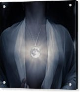Woman With Glowing Full Moon Pendant On Her Chest Acrylic Print