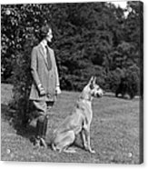 Woman With Great Dane, C.1920-30s Acrylic Print