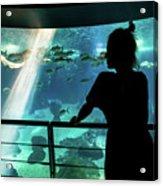 Woman With Leopard Shark Acrylic Print