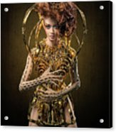 Woman With Messy Curl Updo In Golden Attire Acrylic Print