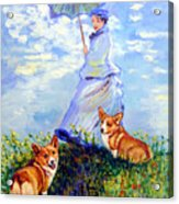 Woman With Parasol And Corgis After Monet Acrylic Print