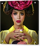 Woman With Red Flower Headdress Acrylic Print