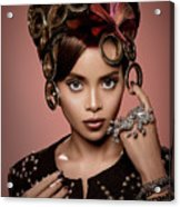 Woman With Ring Headdress And Bouffant Hairstyle Acrylic Print