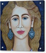 Woman With Silver Earrings Acrylic Print