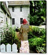 Woman With Striped Jacket And Flowered Skirt Acrylic Print