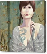 Woman With Tattoo Acrylic Print