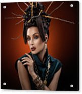 Woman With Twig Headdress And Oriental Look Acrylic Print