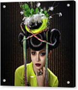 Woman With Yellow Dress With Feather And Leaf Headdress Acrylic Print