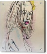 Woman With Yellow Flower Acrylic Print