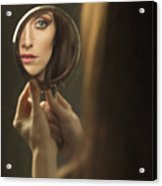 Woman's Face In The Mirror Acrylic Print