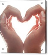 Woman's Hands Make A Heart Shape On White Background, Backlight. Love Acrylic Print