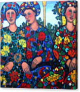 Women And Parrott Acrylic Print