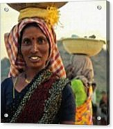 Women Carrying Goods On Their Heads H B Acrylic Print