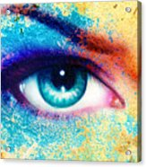 Women Eye Color Rust Effect Painting Collage Violet Makeup. Acrylic Print