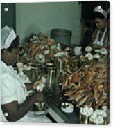 Women Pick And Pack Crab Meat Into Cans Acrylic Print by Robert Sisson