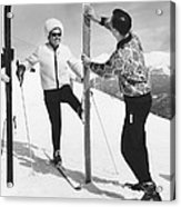 Women Waxing Skis Acrylic Print