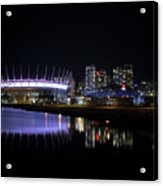 Wonderful Night Of False Creek View With Bc Place. Acrylic Print