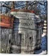 Wood  Barrel Oak Fermentation Whiskey Bourbon Cask Winter Snow Wood Faust Park Acrylic Print