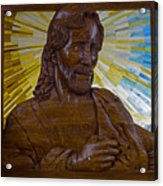 Wood Carving Of Jesus Acrylic Print