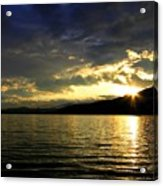 Wood Lake Sunburst Acrylic Print