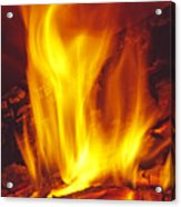 Wood Stove - Blazing Log Fire Acrylic Print