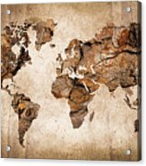 Wood World Map Acrylic Print by Delphimages Photo Creations