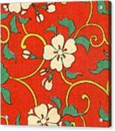 Woodblock Print Of Apple Blossoms Acrylic Print