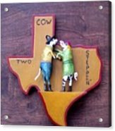 Woodcrafted 2 Cow Steppin' Acrylic Print by Michael Pasko