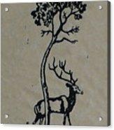 Woodcut Deer Acrylic Print