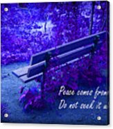 Wooden Bench With Inspirational Text Acrylic Print