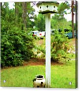 Wooden Bird House On A Pole 6 Acrylic Print by Lanjee Chee