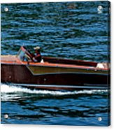 Wooden Boat Waves On Tahoe Acrylic Print