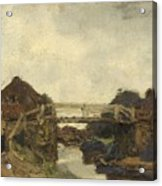 Wooden Bridge Across A Canal At Rijswijk Acrylic Print