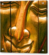 Wooden Buddha Face Acrylic Print