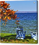 Wooden Chairs On Autumn Lake Acrylic Print