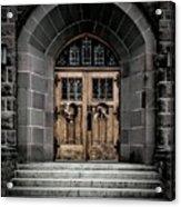 Wooden Church Door In Stone Archway Acrylic Print