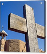 Wooden Cross And Penitente Church Acrylic Print