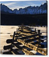 Wooden Fence And Sawtooth Mountain Range Acrylic Print