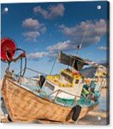 Wooden Fishing Boat On Shore Acrylic Print