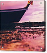 Wooden Fishing Thai Boat Sunken On The Rocky Beach During Tide Acrylic Print