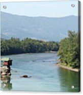 wooden house on rock Drina river Serbia Acrylic Print
