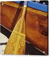 Wooden Paddle And Canoe Acrylic Print