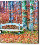 Wooden Park Bench In Dry Leaves  Acrylic Print