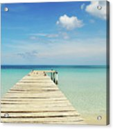 Wooden Pier On A Perfect Tropical Caribbean White Sand Beach Acrylic Print