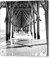 Wooden Post Under A Pier On The Beach Acrylic Print